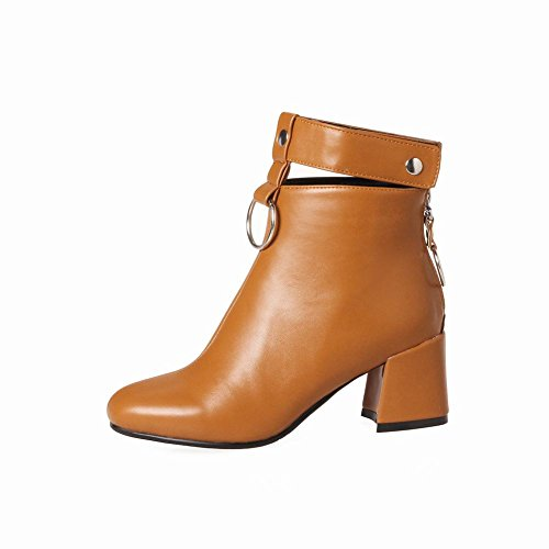 Charm Foot Womens Fashion Zipper Cinturino Alla Caviglia Chunky Tacco Alto Stivali Corti Giallo E Marrone