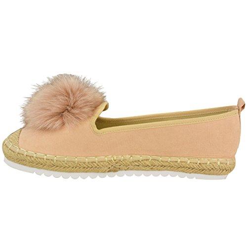 Faux Trainers Shoes Pom Detail Slip Thirsty Fashion Pom Espadrilles Womens Size Flat Pom Suede On Sneakers Peach Pink Pom qpw6Axw