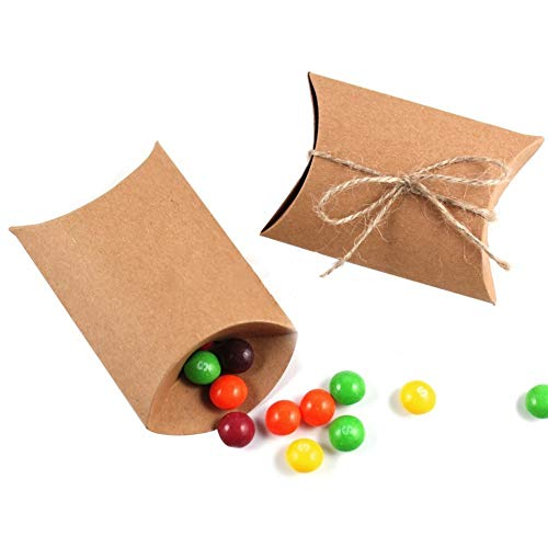 wsloftyGYd 50Pcs Kraft Paper Pillow Shape Wedding Favor Gift Box Party Candy Bag with Rope