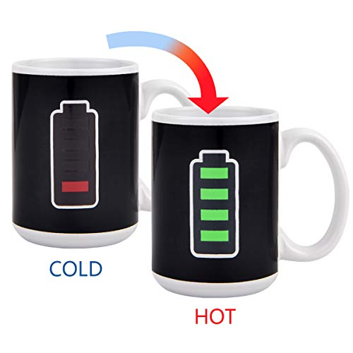- Magic Heat Color Changing Coffee Mug Battery Meter Funny Cup, Thermometer Sensitive Tea Coffee Cup, 100% Ceramic 15 OZ