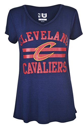 fan products of NBA Women's Cleveland Cavaliers T-Shirt V-Neck Relaxed Fit Short Sleeve Tee Shirt, X-Large, Navy