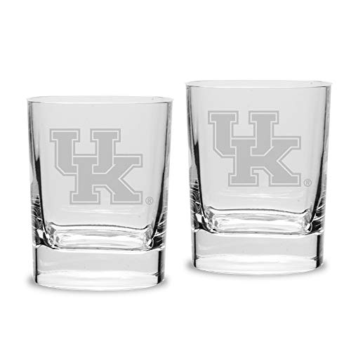 (NCAA Kentucky Wildcats Luigi Bormioli Square Round Double Old Fashion Glass - Set of 2, Clear, 11.75 oz)