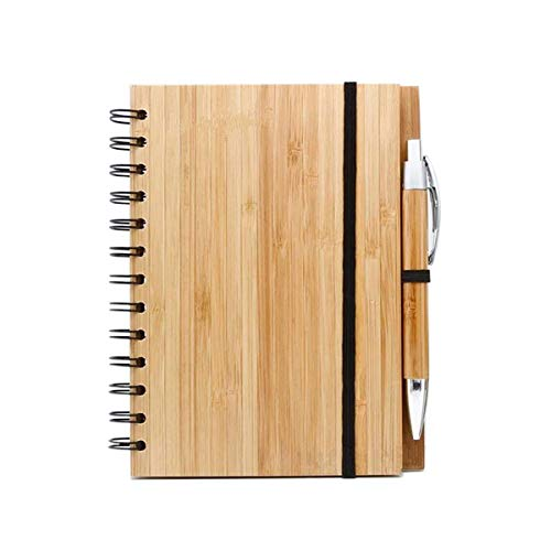 Spiral Notebook Bamboo Notebooks/Journals With Pen for Journaling Writing Note Taking Diary and Planner ,Bamboo notepad, 70 - Journal Bamboo