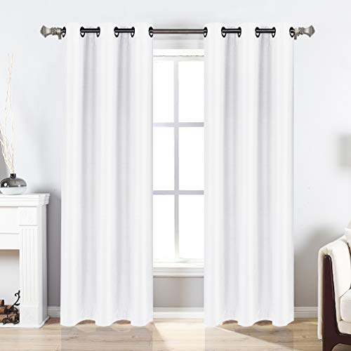 Valea Home Blackout Curtains Grommet Faux Silk Satin Room Darkening Curtain Drapes for Bedroom, 38