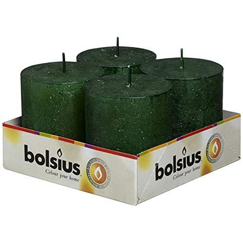 Bolsius–Pilar metallico rustico candela 80/68mm–Verde Smeraldo, confezione da 4
