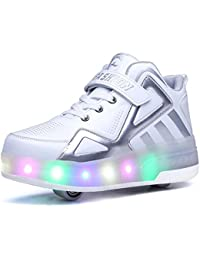 Uforme Kids Boys Girls High-Top Shoes LED Light Up Sneakers Single Wheel Double Wheel
