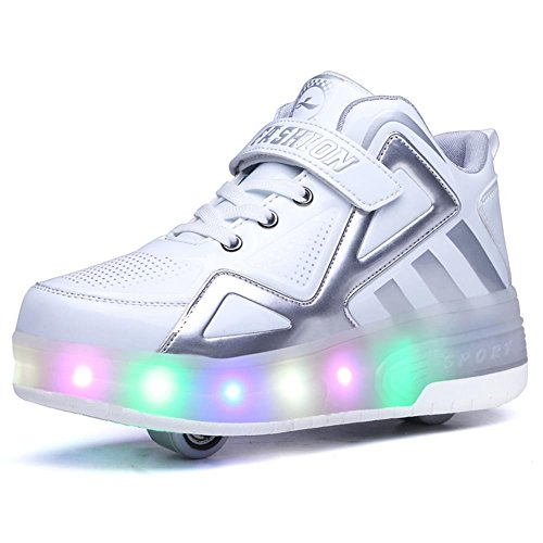 Ufatansy Uforme Kids Boys Girls High-Top Shoes LED Light Up Sneakers Single Wheel Double Wheel Roller Skate Shoes (4.5 M US =CN37, White-Double -