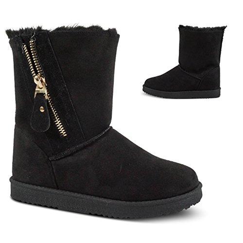 Damen Schlupfstiefel Stiefeletten Boots Winter Schnee Outdoor gefüttert ST790 Schwarz