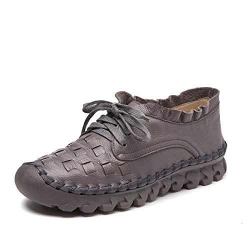 Socofy Women's Leather Loafers Shoes,Casual Handmade Stitching Lace Up Flat Indoor and Outdoor Single Shoes Gray 8 B(M) (Ladies Leather Casual Shoes)