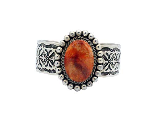 Britton Chavez, Bracelet, Orange Spiny Oyster Shell, Stamping, Navajo Made, 6.5