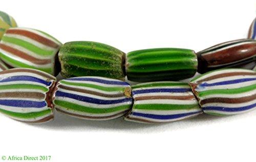 Rainbow Chevron Venetian Trade Beads Striped Melon African