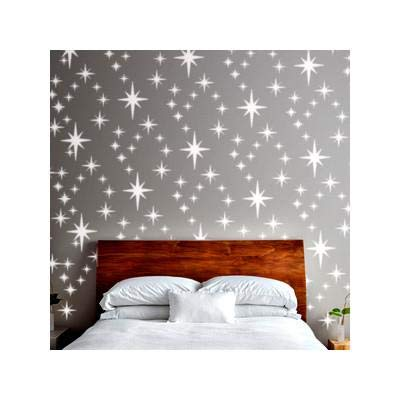 8-POINT STAR CLUSTER Wall Stencil for Paint - Wall Large (Best Paint For Nursery Walls)