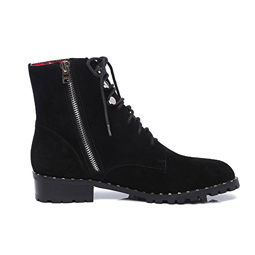 Nero Martin Boots Pelle Short Cintura 2Inch In nel sottile Lunghezza 9 Stivaletti Frosted Piede 23 3CM lato Cerniera Stivali wFqx17q