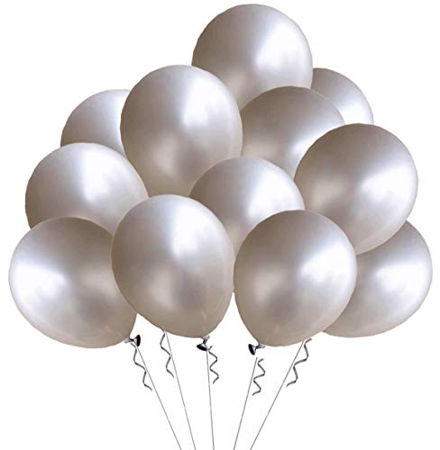 Elecrainbow 100 Pack 12 Inch 3.2 g/pc Thicken Round Metallic Pearlescent Latex Silver Balloons for Party Supplies and Decorations, Shining -
