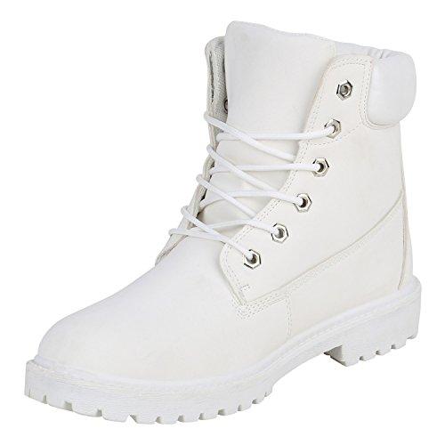 Stiefelparadies Herren Worker Boots Profilsohle Flandell Weiss Autol