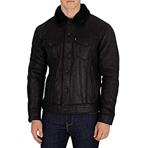 Levi's Men's The Shearling Trucker Leather Jacket, Black