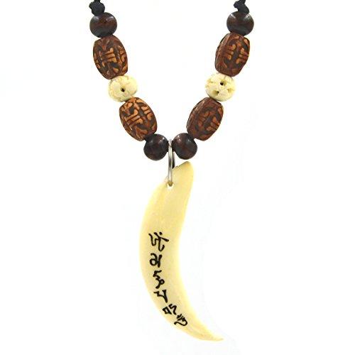 Real Teeth Tibetan Buddhist Mantra Om Mani Padme Hum Pendant Necklace, Yoga Meditation Buddhist Jewelry