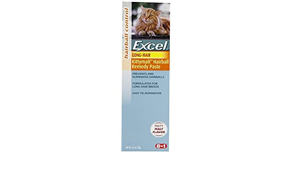 Excel Hairball Remedio para el Pelo Largo Gatos, Malta Sabor, 2.5-Ounce: Amazon.es: Productos para mascotas