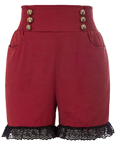 SCARLET DARKNESS Women Steampunk Gothic Shorts Victorian Ruffled Pants Renaissance Costume Wine L]()
