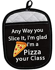LEVLO Funny Pizza Lovers Gifts Any Way You Slice It I'm Glad I'm a Pizza Your Class Oven Mitts Baking Teacher Thank You Gifts (I'm a Pizza Your Class)