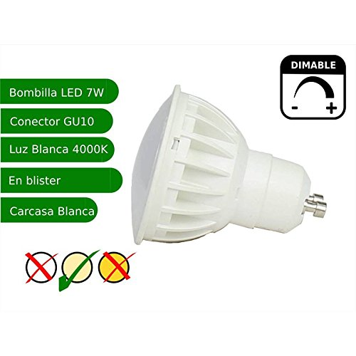 Jandei - Bombilla led regulable GU10 7W blanco 4000K: Amazon.es: Iluminación