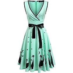 ACEVOG Women's Floral Print Flowy Sleeveless Swing Maxi Dress