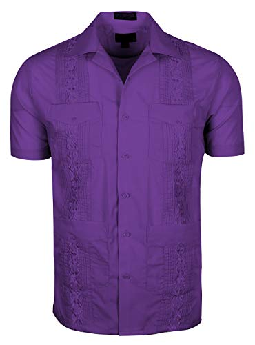 - Volcan Men's Short Sleeve Cuban Guayabera Shirts (XL, GUA01-Purple)