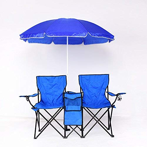 Goplus Portable Folding Camping Chairs w/Umbrella Mini Table Beverage Holder Carrying Bag, Beach Patio Pool Park Outdoor Portable Picnic Chair (Blue)