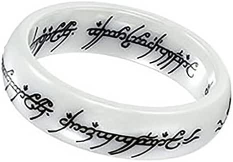 6mm Ceramics Band Ring for Women Mens Lord of the Rings Laser Pattern #8082