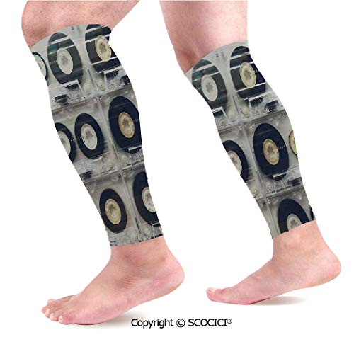 (Flexible Breathable Comfortable Leg Skin Protector Sleeve Picture of Six Audio Cassettes for Recorder Retro Style Vintage Old Time Popular Technology Calf Compression Sleeve)