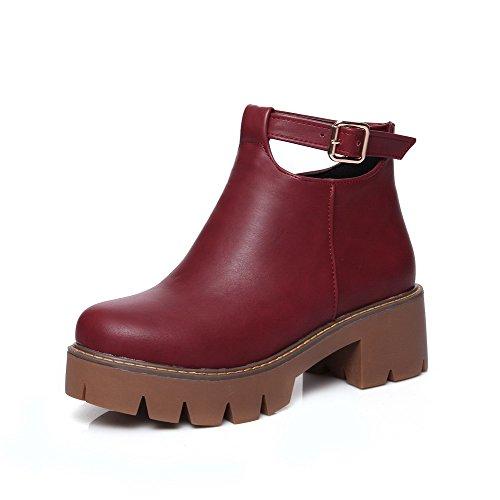 Boots AgooLar Toe Heels Zipper Women's Materials Claret Solid Blend Kitten Round r8rzqOw