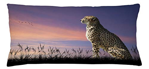 Lunarable Cheetah Throw Pillow Cushion Cover, African Safari Concept Image of Cheetah Looking Out Over Savannah with Sunset Sky, Decorative Square Accent Pillow Case, 36 X 16 Inches, Multicolor