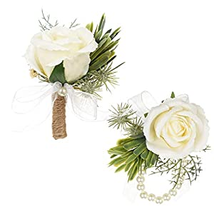 DearHouse 2Pcs Boutonniere Buttonholes and Wrist Corsage Wristband Roses Wrist Corsage, Groom Groomsman Best Man and Girl Brides Rose Wedding Flowers Accessories Prom Suit Decoration 68