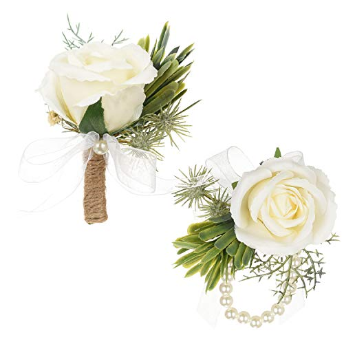 (DearHouse 2Pcs Boutonniere Buttonholes and Wrist Corsage Wristband Roses Wrist Corsage, Groom Groomsman Best Man and Girl Brides Rose Wedding Flowers Accessories Prom Suit Decoration )