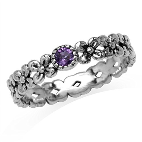 Silvershake Petite Natural African Amethyst 925 Sterling Silver Flower Stack Stackable Eternity Ring Size 6