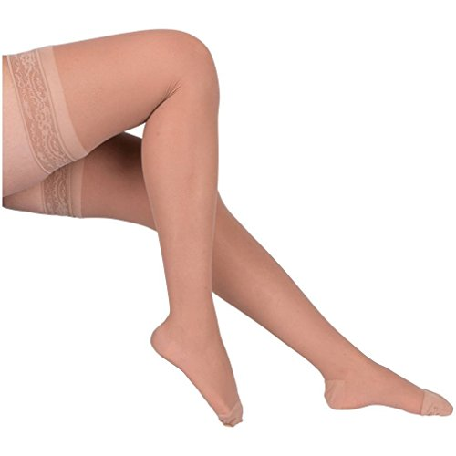 2 Pair EvoNation Women's USA Made Thigh High Graduated Compression Stockings 15-20 mmHg Moderate Pressure Ladies Sheer Socks Lace Top Support Hose – Best Comfort Fit Circulation (XL, Tan Beige Nude)