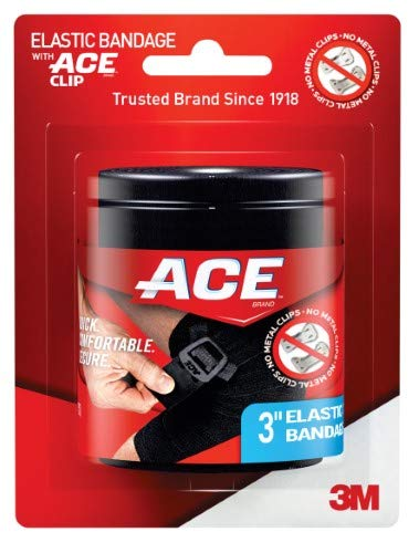 ACE Elastic Bandage with Clip, 3', Black (Pack of 36)