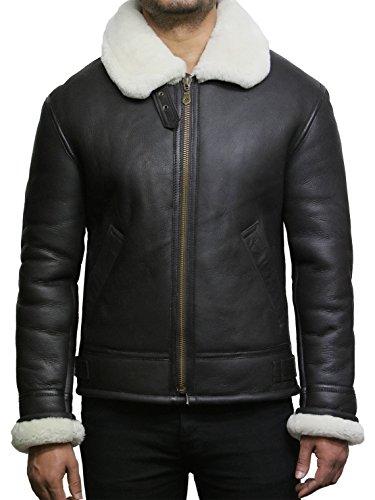 Real Brandslock Aviator Shearling Marrone B3 Jacket Uomo Pelle Pecora Leather Pilot Di Bomber rq5n5tUWx
