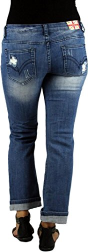 MACHINE JEANS Destroyed Distressed Ripped Cropped Medium Wash Denim Jeans - Waist 3