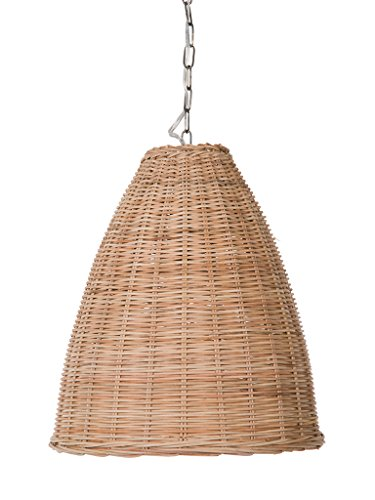 - KOUBOO 1050102 Panay Wicker Bell Hanging Ceiling Lamp, One Size, Wheat