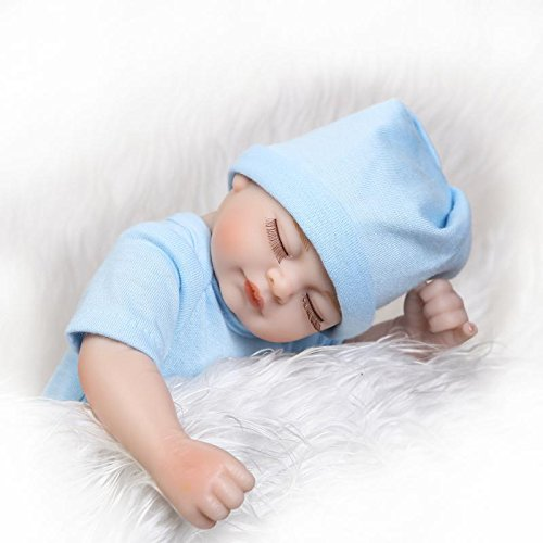 Pinky 26cm 10 Inch Mini Full Body Hard Vinyl Silicone Newborn Dolls Simulation Lifelike Reborn Baby Doll in Blue Romper Magnet Pacifier Xmas Birthday Present