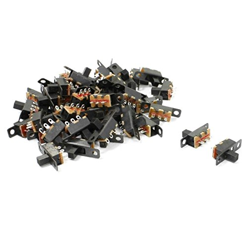 Uxcell a13042200ux0676 6 Solder Lug Pin ON/OFF 2 Position Panel Mount Slide Switch, 50 Piece