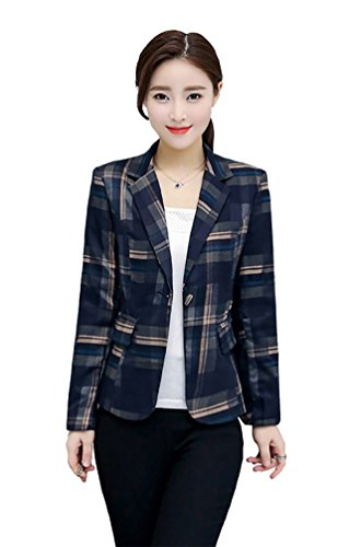 MWW Women's Notched Lapel Blue Plaid Blazer Jacket Long Sleeve Suit Outwear US 4 (Fur Collar Coat Notched)