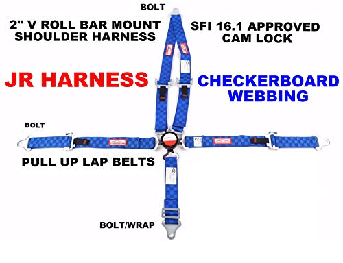 - Racerdirect Blue Checkerboard JR Racing 5 Point Harness SFI 16.1 CAM Lock Pull UP Lap Belts Bolt in Application