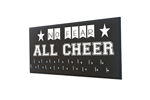 Cheerleading Gift - NO Fear All Cheer - Cheerleader Wall Hanger to Display All Awards Ribbons on The Wall - Medal Holder
