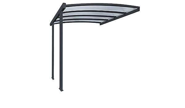 Pergola en aluminio Cintrée adossée techo de policarbonato 16 mm con canalón 4 x 3, 5 m gris: Amazon.es: Jardín
