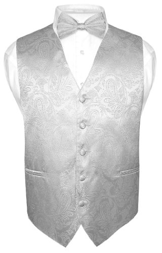 Men's Paisley Design Dress Vest & Bow Tie Silver Grey Color Bowtie Set sz Large