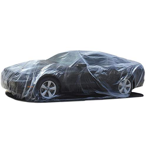 Motorup America Plastic Car Cover Disposable Temporary Pack of 5 12 x 22 with Elastic Waist-Band for Auto