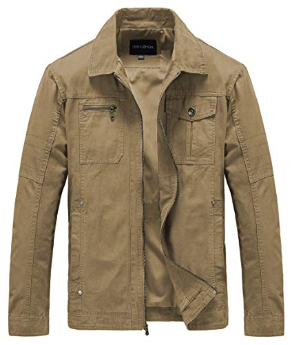 Heihuohua Men's Casual Military Canvas Jacket ()