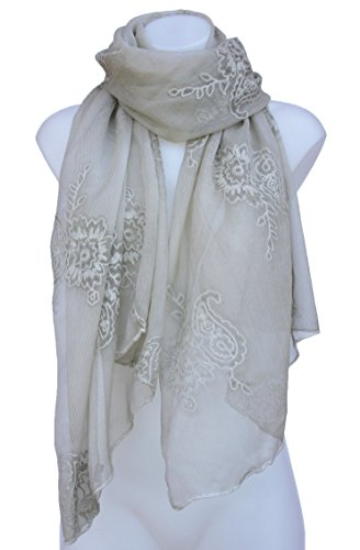 Cotton Silk Embroidered Skirt (Terra Nomad Women's Sheer Silk & Cotton Scarf Shawl with Embroidered Flowers - Sand)